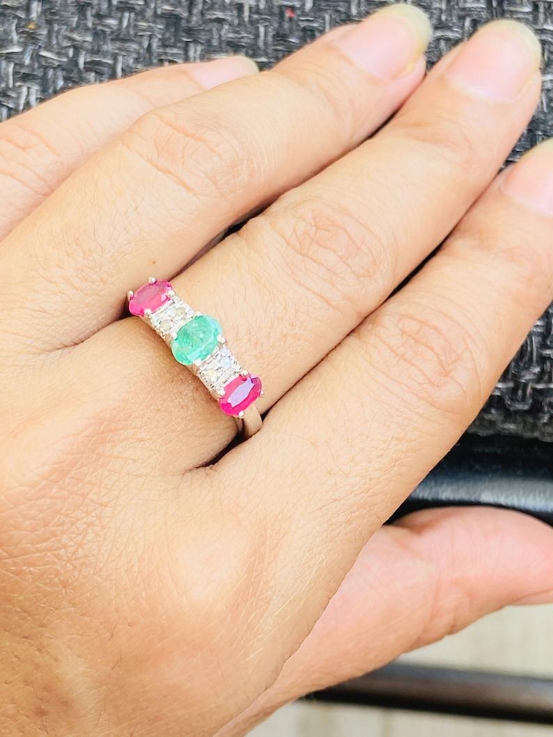 Three stone RUBY EMERLAD DIAMOND Ring  Promise Ring  925 image 0