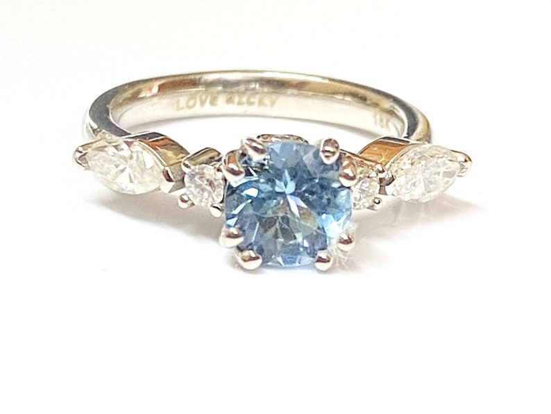 18k gold Aquamarine Diamond Engagement Ring / Stacking Ring / image 0