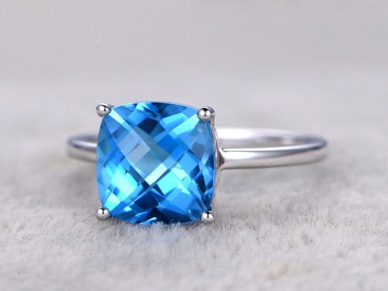 Topaz Engagement Ring 9mm Cushion Cut 14K White Gold Blue image 0