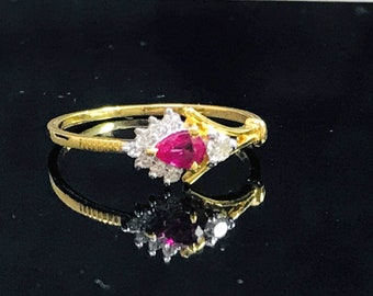 RUBY DIAMOND MINIMALIST Ring - 14k Gold-Engagement Ring, Wedding Gift-July Birthstone - A king of Gems
