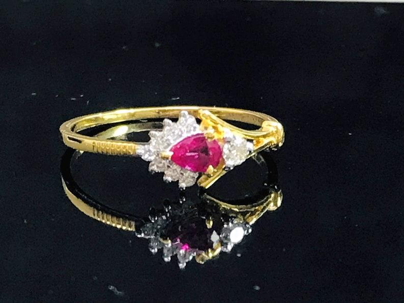RUBY DIAMOND MINIMALIST Ring  14k Gold-Engagement Ring image 1