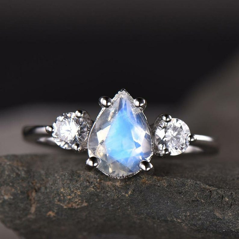Blue Flash Moonstone Ring Moonstone Pear Cut White Gold image 0