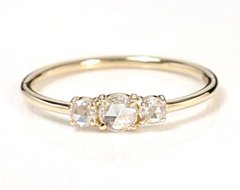 Triple ROSE CUT DIAMOND Ring / Stackable ring / Minimalist Jewelry / wedding gift for her