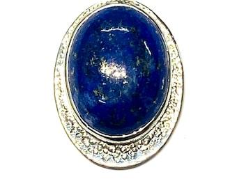 LAPIS LAZULI Art Deco Silver Pendant / Elven Style / Statement Jewelry /September Birthstone