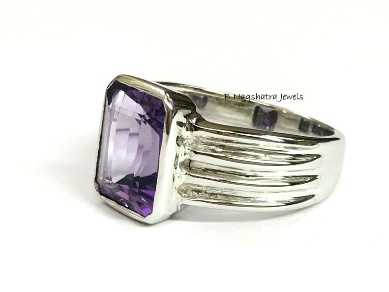 Octagon Emerald Cut Amethyst,February Birthstone,Fathers Day Gift,Men/'s Jewelry AMETHYST MEN/'S RING -925 Sterling Silver Gift For him