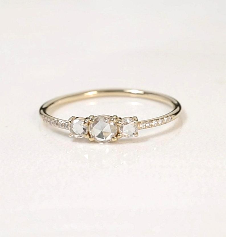 Triple ROSE CUT DIAMOND Ring / Pave Diamonds Band / Stackable image 0