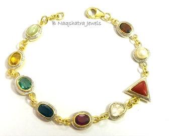 Navratna Gemstone Bracelet in 10k gold - Genuine Navratna Bracelet - Nine gemstone Bracelet - Bracelet For Good Luck