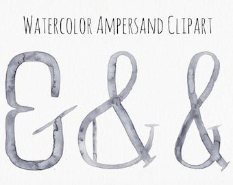 watercolor ampersad clipart .png