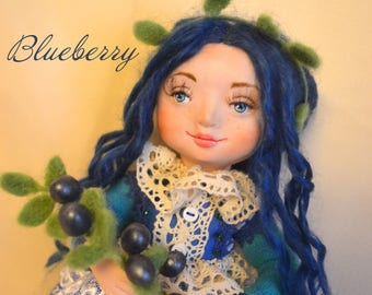 Blueberry girl, art doll, ooak art doll, clay doll, collectible doll, home decor, little girl, unique gift, gift for daughther