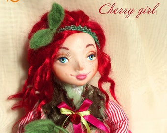 Cherry girl, art doll, clay doll, collectible doll, little girl, home decor, collectible doll, unique gift, gift for girl, ooak art doll