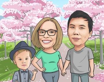Caricature, custom caricature, family caricature, personalized caricatures, wedding caricature, Caricature from Photo, Caricature, cartoon