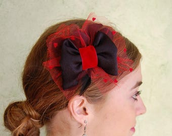 Fascinator - Fascinator Vintage red and black tulle with dots and big bow