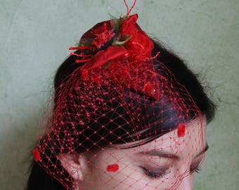 Red Veil fascinator for ceremony or chic cocktail Hat spotted veil