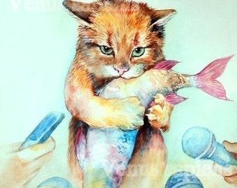 Cat and fish art, celebrity cat print giclee, funny cat, watercolor art print, cat lover wall art, nursery wall art A4