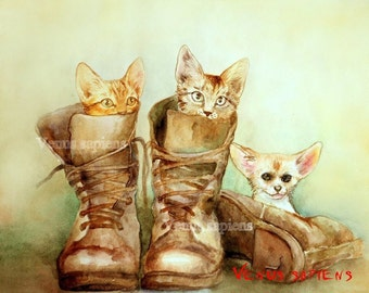 Giclee 8x10in, А5, А4, Watercolor PRINT, Kittens and Fennec, Puss in boots,  Art Print