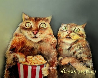 Horror movie cats and popcorn, cats in the cinema funny gift, two cats art, Giclee А4 -11.7x 8.3 In,Watercolor Art Print , horror movie ,,