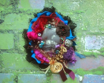 Baroque boho brooch, lace Gypsy style, decorated with luxurious jewelry, embroidered collage art brooch, Bohemian style of life