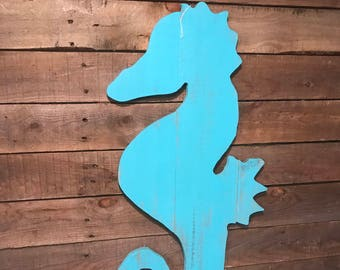 Distressed Wooden Seahorse Cutout Sign Aqua Blue Wall Art and Beach Wall Decor