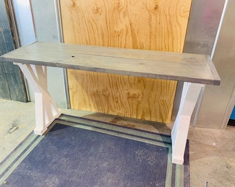 Rustic Console Table, Farmhouse Pedestal Entryway Table with Gray Top and White Base, Handmade Wood Buffet