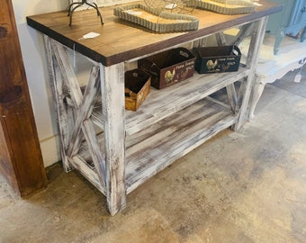 Small Rustic Wooden Buffet Table, Rustic Console Table, Farmhouse Buffet Table, Distressed White Base  and Red Mahogany Top