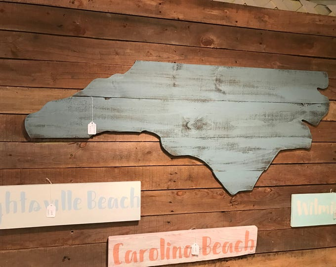 Large North Carolina Cutout Sign with Blue Beachy Distressed Look NC Wall Art and NC Wall Decor