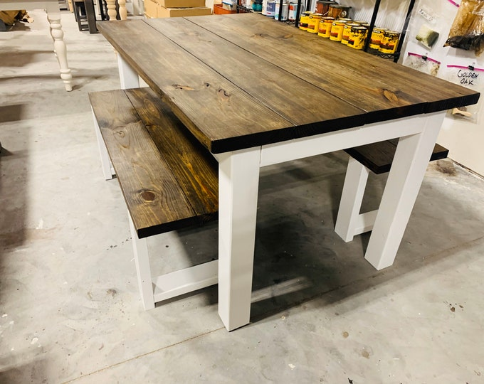 Rustic Farmhouse Table Set with Benches, White Base and Dark Walnut Brown Top, Dining Set with Kitchen Table Set