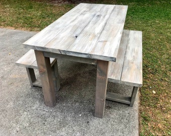 Rustic Wooden Small Farmhouse Table Set with Gray White Wash Top and Classic Gray Base Includes Two Benches Wooden Dining Set