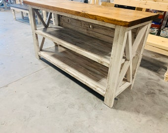 Rustic Wooden Buffet Table, Rustic Console Table, Farmhouse Buffet Table, White Distressed Base and Dark Provincial Top, X Accents and Back