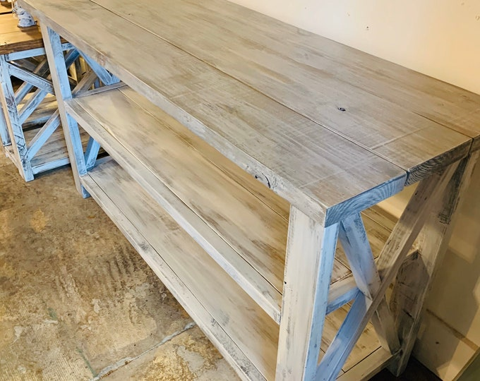 5ft Rustic Wooden Buffet Table, Rustic Console Table, Farmhouse Buffet Table, Distressed White Base and White Wash Top