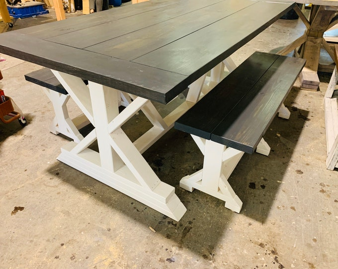 Rustic Pedestal Farmhouse Table With Benches Carbon Gray with Pure White Base Dining Set and Kitchen Table with Breadboards