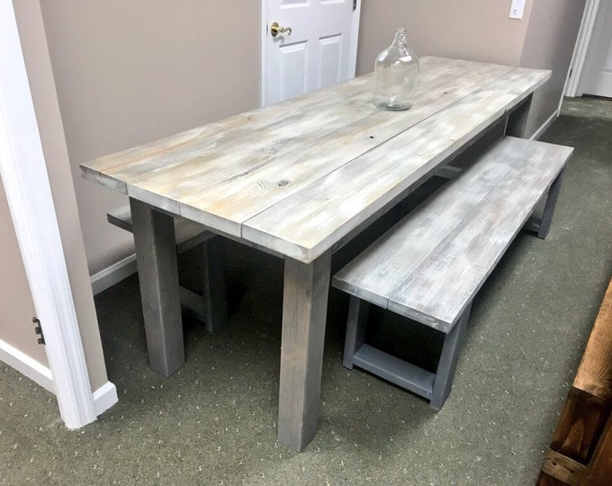 Rustic Farmhouse 8ft Table Set With Two Long Matching Benches, White Wash Top with Gray Base, Long Dining Set, Wooden Banquet Table