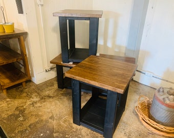 Modern Farmhouse Living Room Set, End Tables Set and Coffee Table with black Base and Provincial Top, Rustic Living Room Furniture