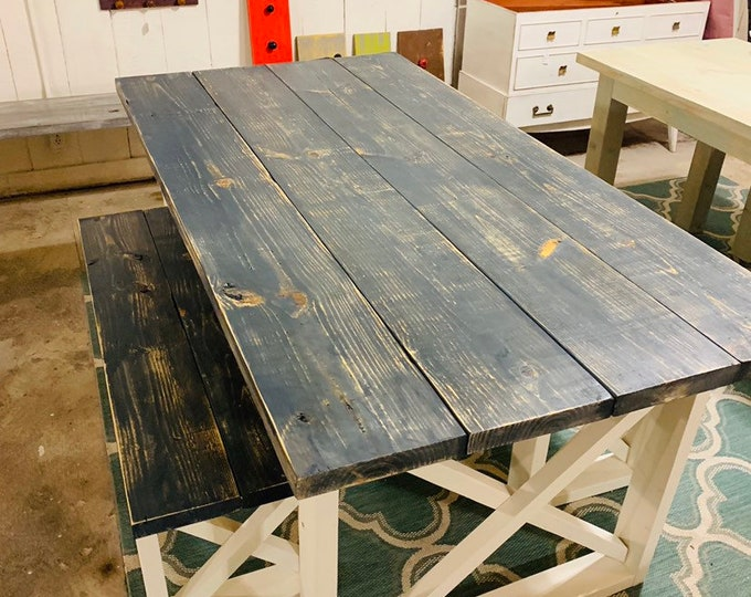 Rustic Farmhouse Table With Benches with Carcol Gray Weathered Top and White Base and Cross Brace Design.