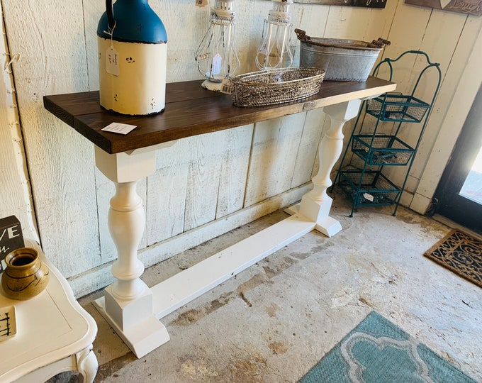 Rustic Farmhouse Entryway Table with shelve and Turned Legs, Clean White Base Provincial Brown Top  , Wooden Sofa Console Table