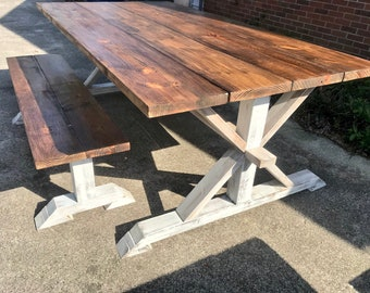 Rustic Pedestal Wide Farmhouse 7ft. Table With Bench Provincial Brown with White Distressed Base Dining Set