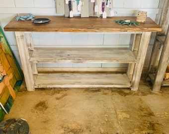 Rustic Farmhouse Narrow Bookcase, Console or Entryway Table with A Light Walnut Top and Distressed White Base, Wooden Shelving Unit