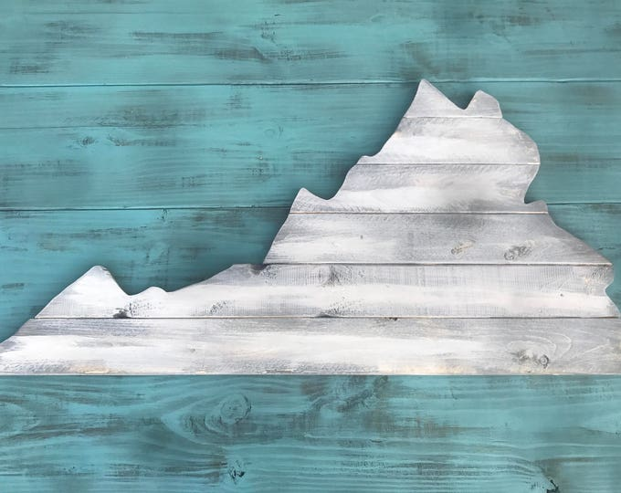 Large Virginia Cutout Sign with Rustic Look VA Wall Art and NC Wall Decor