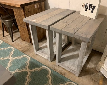 Rustic Handmade Long End Tables Set with Shelve, Distressed White Base with Gray Stained Top Pair of Farmhouse Side Tables, Wooden Table