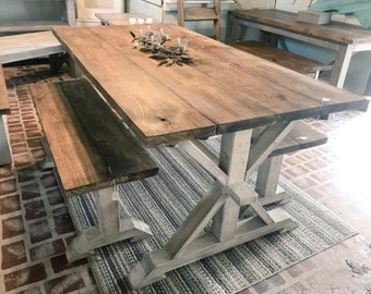 a103cb6b35b8 Rustic Pedestal Farmhouse Table With Benches Provincial Brown with White  Distressed Base Dining Set