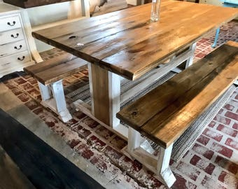 Rustic Pedestal Farmhouse Table with Long Benches, Rustic Dining Table Set, Walnut top White Distressed Base, Rounded Edges