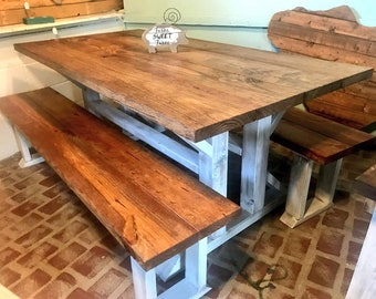 Rustic Double Pedestal Farmhouse Table Set with Long Benches, Early American, White Distressed Base, Wood Dining Set