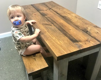 Kids Rustic Farmhouse Table Set with Benches, Children's Table, Dining Set, Provincial Brown Top with Gray Base, Kids Furniture