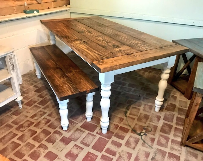 Farmhouse Style Table with Spun Legs and Breadbaords Set Comes with Matching Bench, Top Is Honey Brown Bottom Distressed White Base