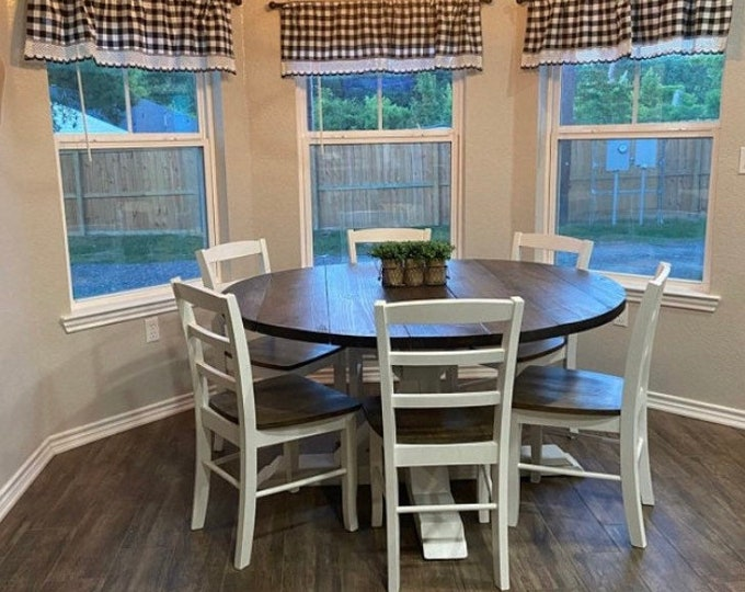 5ft Round Rustic Farmhouse Table with chairs, Single Pedestal  Style Base, Dark Walnut Top with Distressed White Base, Wooden Dining