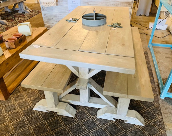 Small Rustic Farmhouse Table Set With Long Benches and Breadboards, Gray White Wash Finish and Distressed White Base Wooden Dining Set