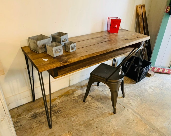 Industrial Style Desk with Hairpin Metal Legs, and Provincial Wooden Top, Desk with Storage, Handmade Office Furniture, Rustic Feel