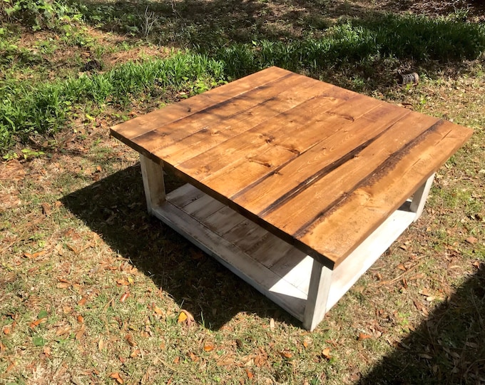 Large Rustic Farmhouse Coffee Table, Provincial Brown Top, Creamy White Distressed Base, Large Square Coffee Table with Shelve