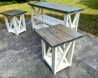Rustic Living Room Set, End Tables with Matchinh Entertainment Stand, Console Table and End Table Set, Gray Top with Antique White Base