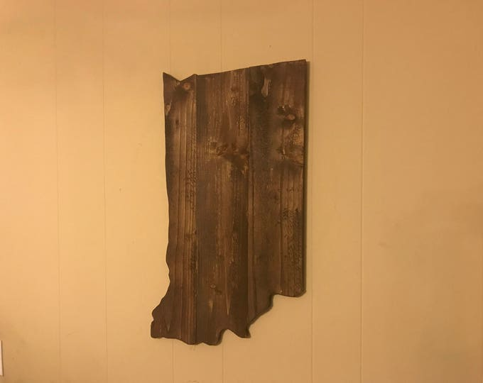 Large Indiana Cutout Sign Rustic Wall Decor with a Walnut Stain IN Wall Art