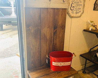 Rustic Farmhouse Hall Tree with Hooks, Solid Wood,  Distressed White with Bench and Provincial Brown Back, Entryway Bench with Storage